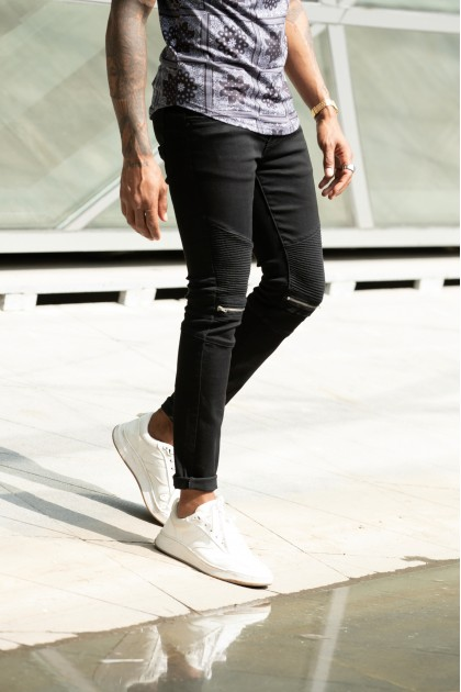 REBEL Zipper Black Jeans