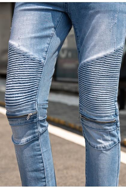 Rebel Zipper Light Blue Jeans